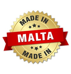 made in Malta gold badge with red ribbon vector image vector image