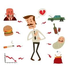 Mens heart problems Businessman risk factors vector image vector image