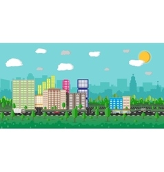 Modern summer City View Cityscape vector image vector image