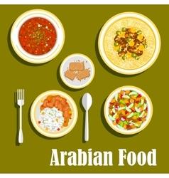 Regional arab cuisines dishes flat icon vector