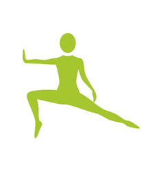 silhouette woman stretching leg side left vector image vector image
