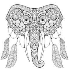 Zentangle indian Elephant with bird feathers in vector image