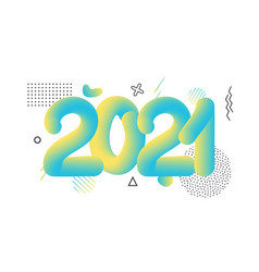 2021 happy new year hand drawn round geometric vector image