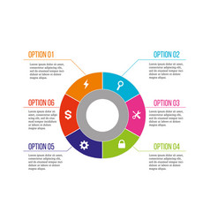 6 options business infographic circle six pieces vector image