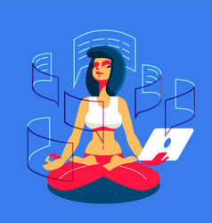 a girl with a tablet is engaged in yoga vector image
