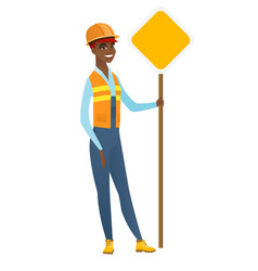 African-american road worker showing road sign vector