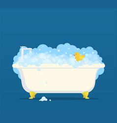 bathtub with soap bubbles and cute duck vector image