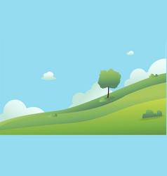 beautiful fields landscape with a dawn green vector image