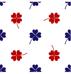 blue and red four leaf clover icon isolated vector image