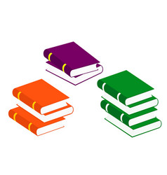 books stack icons set isolated pictogram of vector image