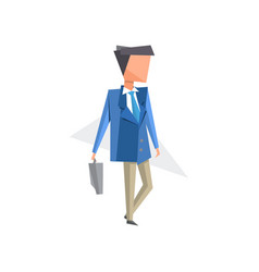 businessman standing with briefcase cartoon vector image