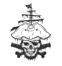 captain skull on a background pirate attributes vector image