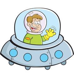 Cartoon boy in a space ship vector image