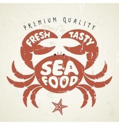 cartoon crab Seafood menu vector image