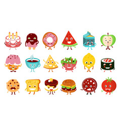 Cartoon funny food characters set cake vector