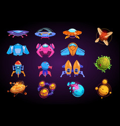 cartoon planets and spaceships fantastic rockets vector image