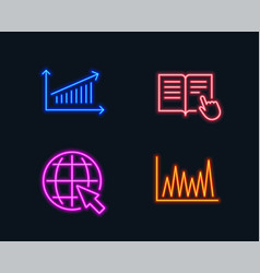 Chart read instruction and internet icons line vector
