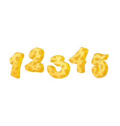 cheese numbers part 1 hand drawn numbers with vector image