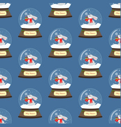 christmas snow globe with rabbit seamless pattern vector image