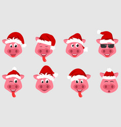 Collection christmas pigs with santa hats symbol vector