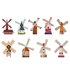 collection traditional ancient windmill vector image