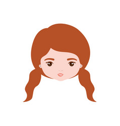 Colorful caricature closeup front view face woman vector