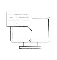 computer desktop with speech bubble vector image