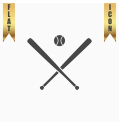 crossed baseball bats and ball vector image