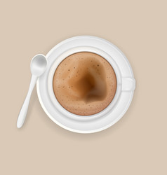 Cup of coffee cappuccino with a teaspoon vector