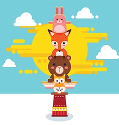 Cute Animal Totem Pole vector image
