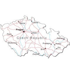 Czech Republic Black White Map vector image