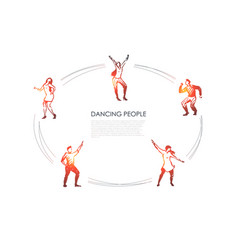 dancing people - men and women in different vector image
