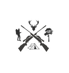 deer hunting with rifles cross logo vector image
