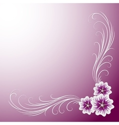 Delicate corner frame with mallow flowers vector