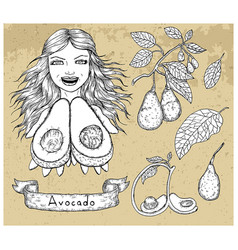 Design set with beautiful woman holding avocado vector