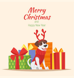 Dog with deer christmas horns vector