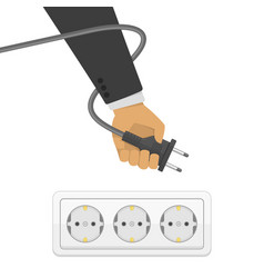 Electric plug in hand vector