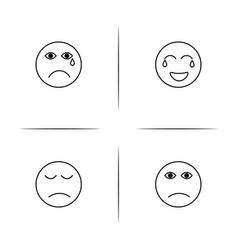 Emoticons simple linear icons set outlined icons vector