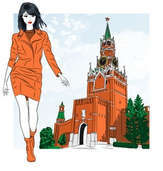 Fashion girl in Moscow vector