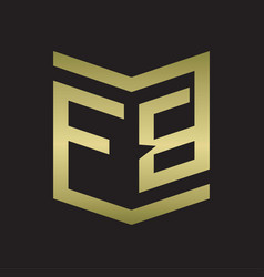 Fb logo emblem monogram with shield style design vector
