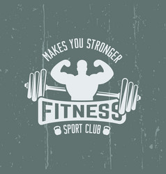 fitness sport club isolated vintage emblem vector image