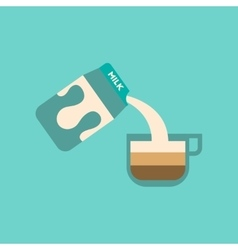 Flat icon on background coffee carton milk vector