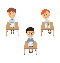 Flat schoolboy sitting at desk set isolated vector