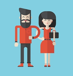 Flat Style Cartoon Characters Man and Woman vector image