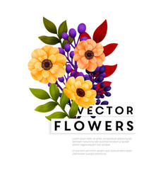 garden flowers floral card bouquet with yellow vector image