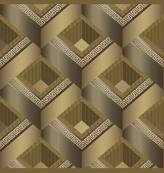 Geometric tiled 3d greek seamless pattern vector