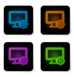 glowing neon computer monitor and gear icon vector image