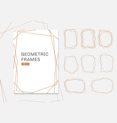 gold geometric polyhedron frames collection vector image