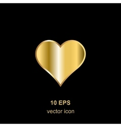 golden heart on black vector image