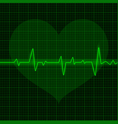 Green electrocardiogram waves with heart symbol vector